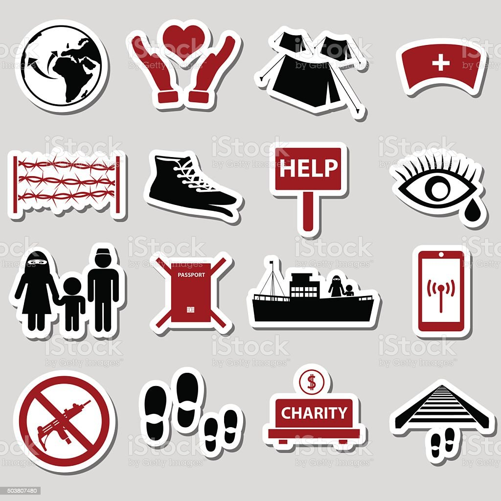 various simple refugees theme stickers set eps10 vector art illustration