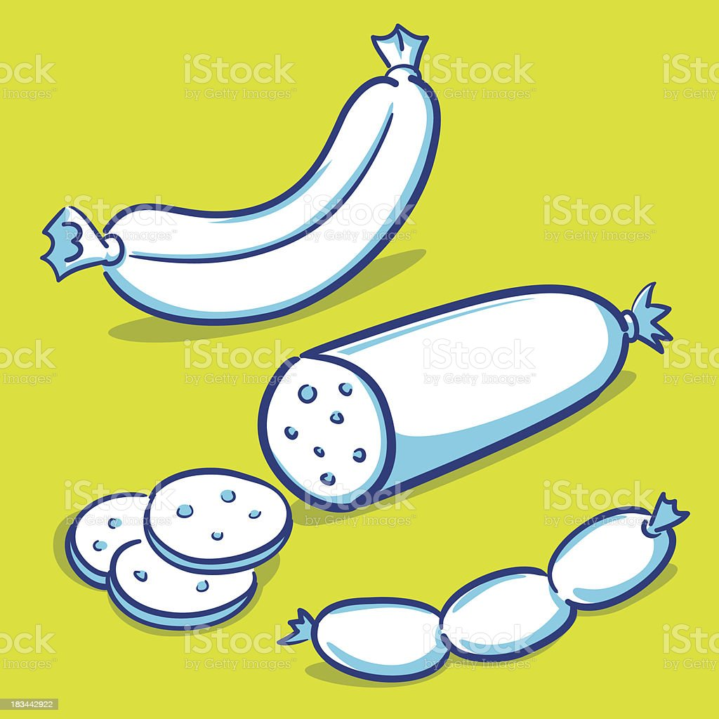 Various Size of Sausages Hand Drawing royalty-free stock vector art