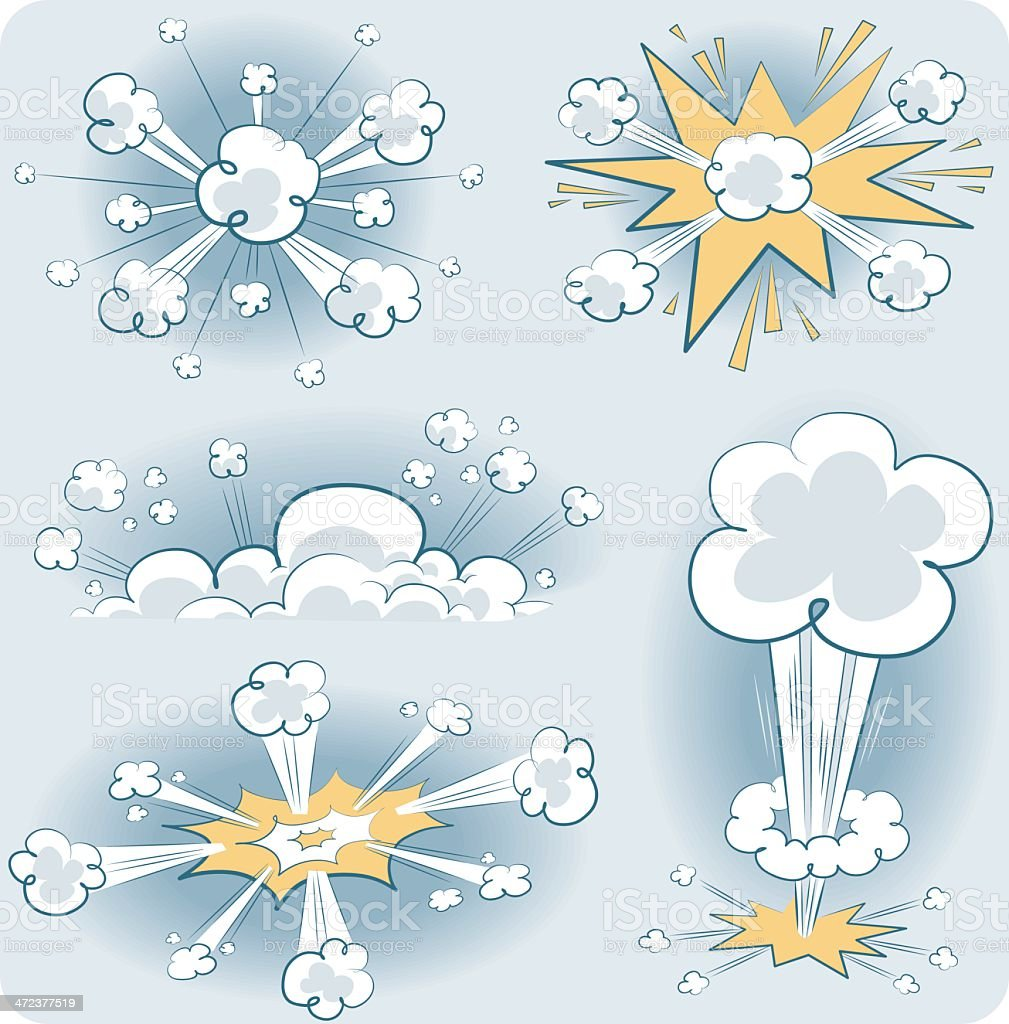 various sketchy explosives vector art illustration