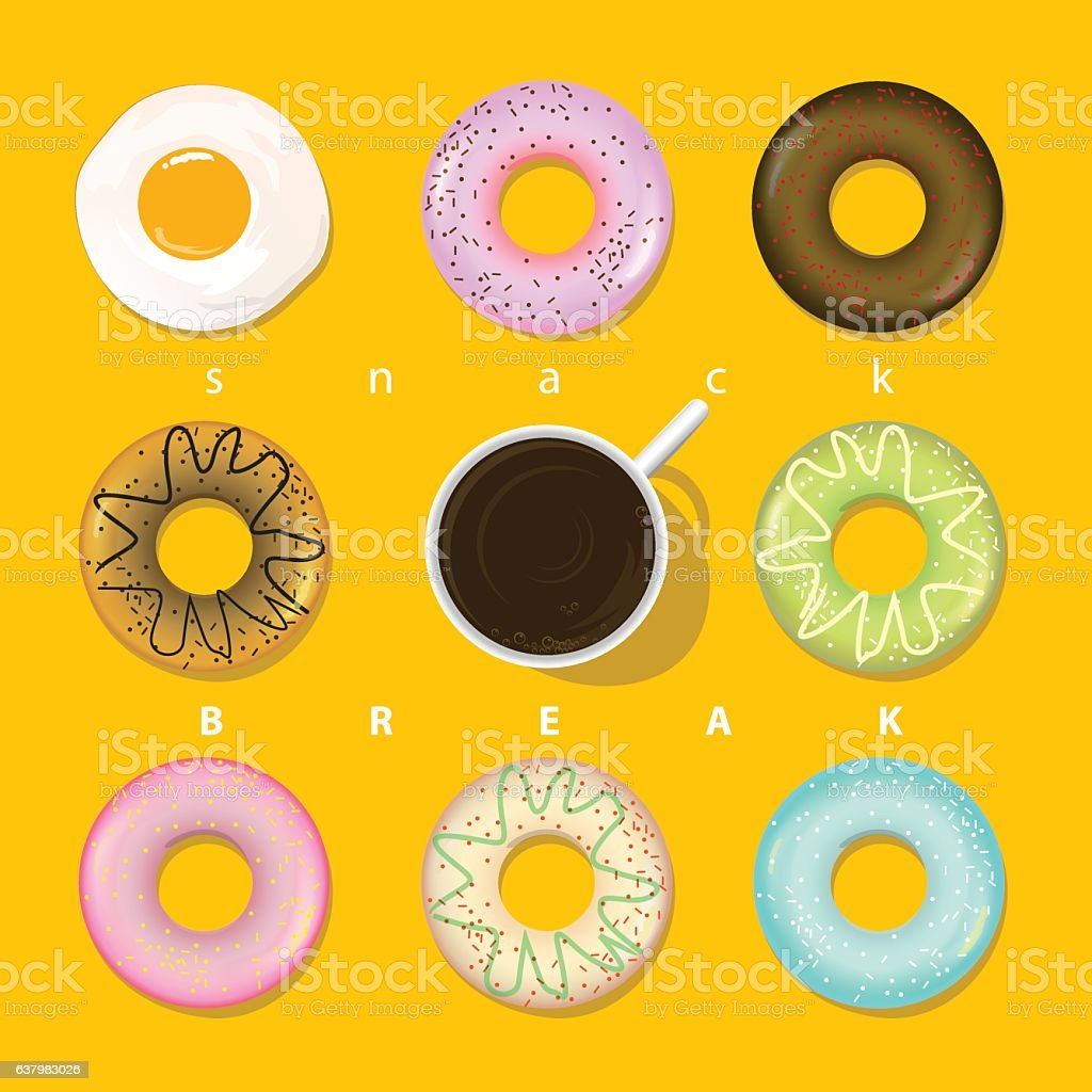 Various snacks circular shape present in pop art colour tone vector art illustration