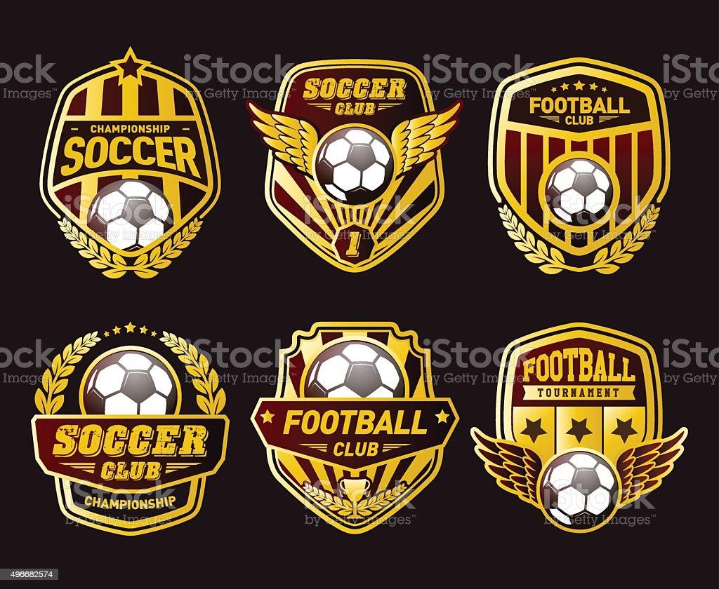 Various Soccer Ball and Football Emblems vector art illustration