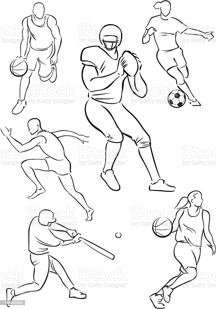 Various sporting figures royalty-free stock vector art