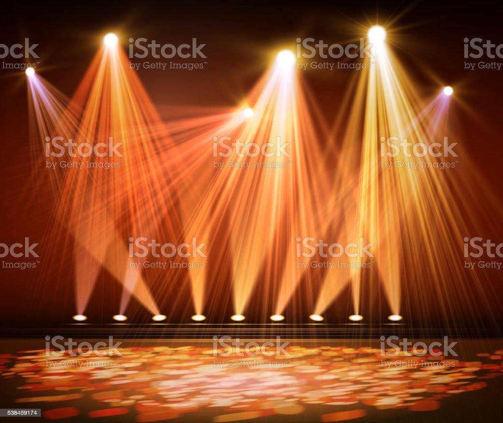 Various stage lights in the dark. Spotlight on stage. vector art illustration