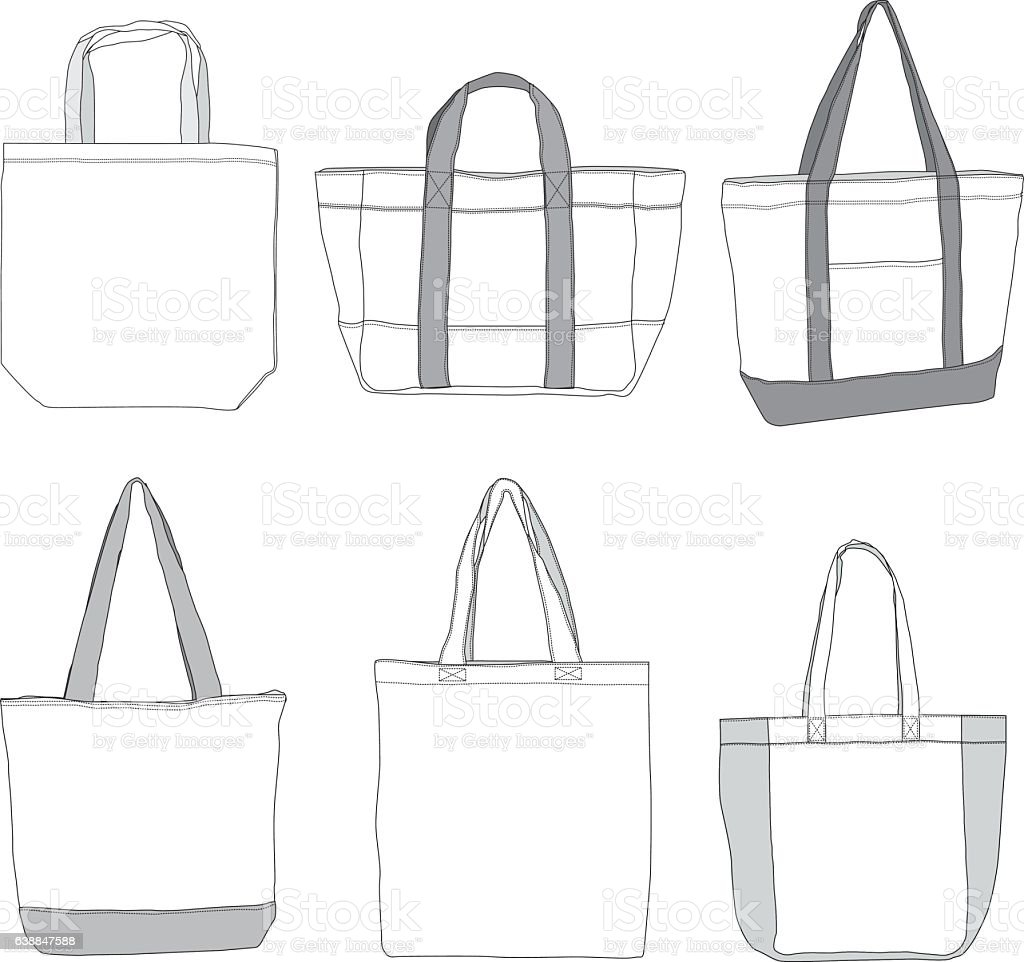 Tote bag drawing - Various Style Tote Bag Template Royalty Free Stock Vector Art
