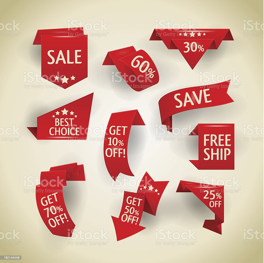 Various styles of red origami sale ribbons vector art illustration