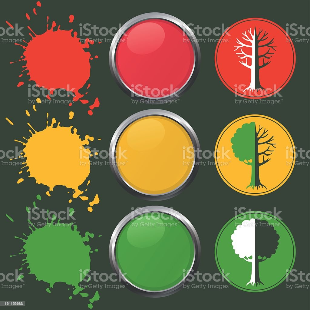 Various symbol with three red yellow and green in particular royalty-free stock vector art