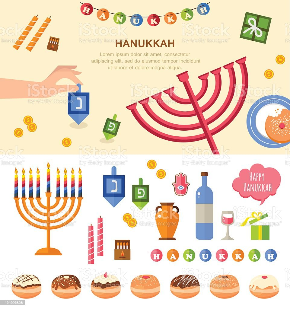 Various symbols and items of hanukkah celebration vector art illustration