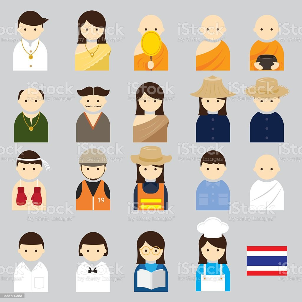 Various Thai People Occupation Character Icons Set vector art illustration