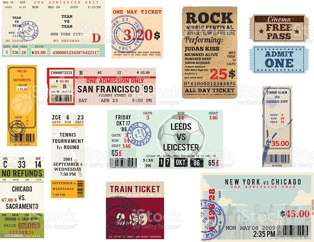 Various Ticket Collection royalty-free stock vector art