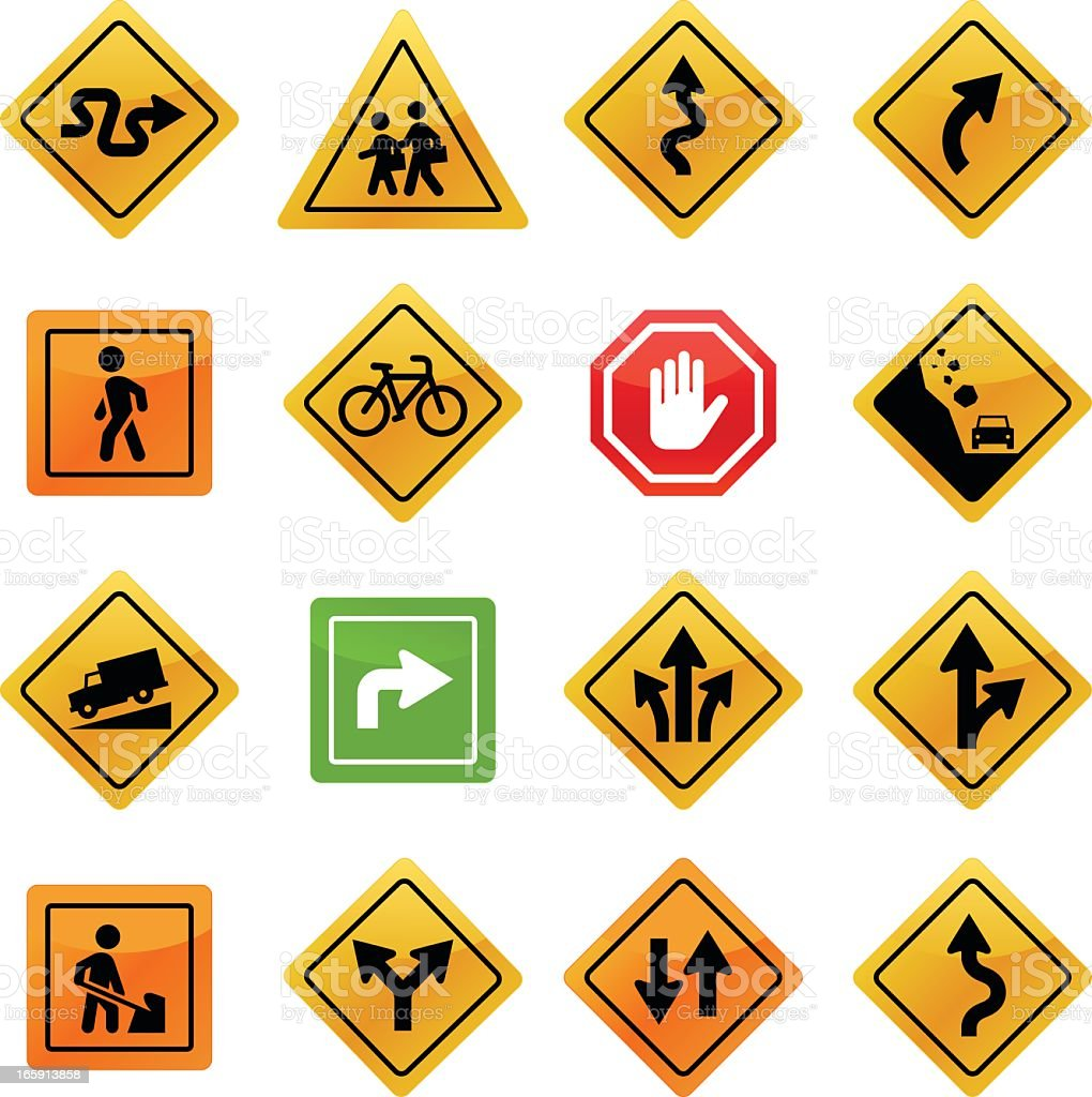 Various traffic signs on a white background vector art illustration