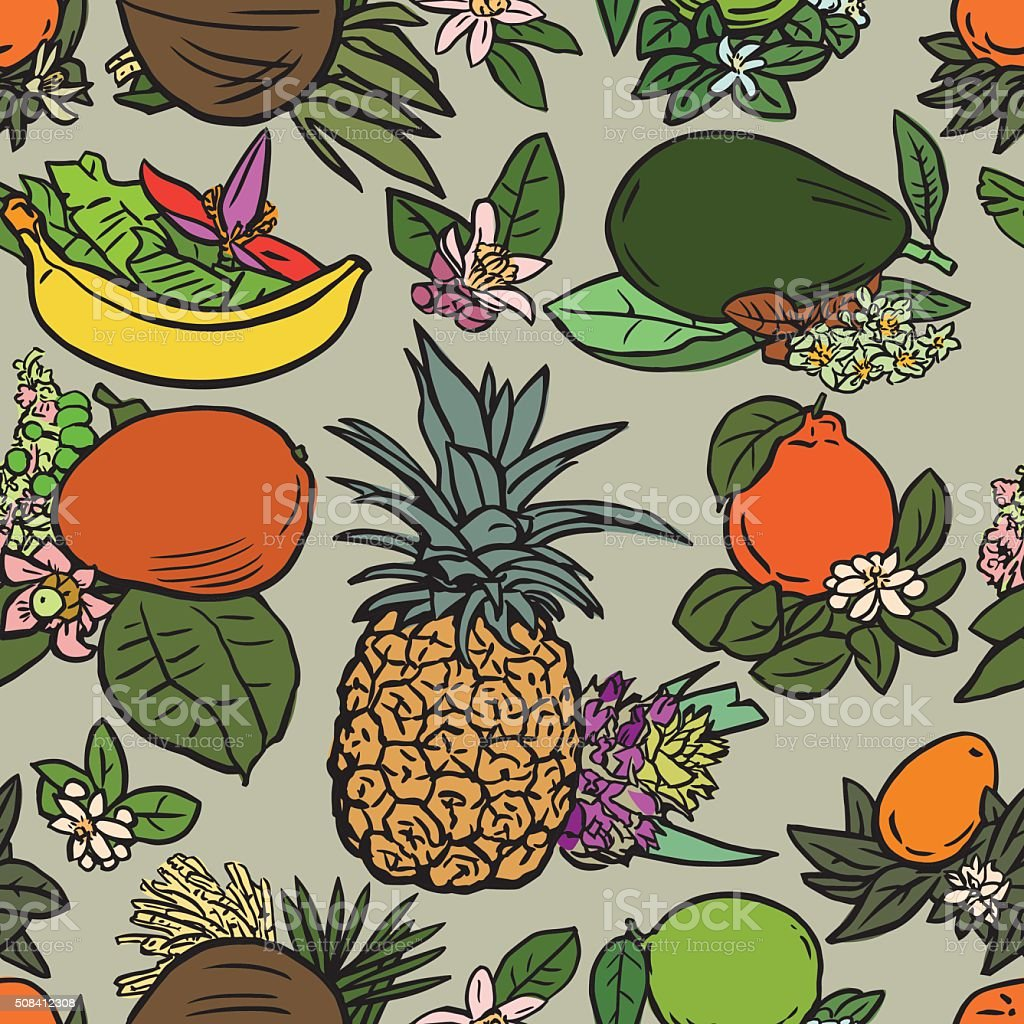 Various tropical fruits vector art illustration