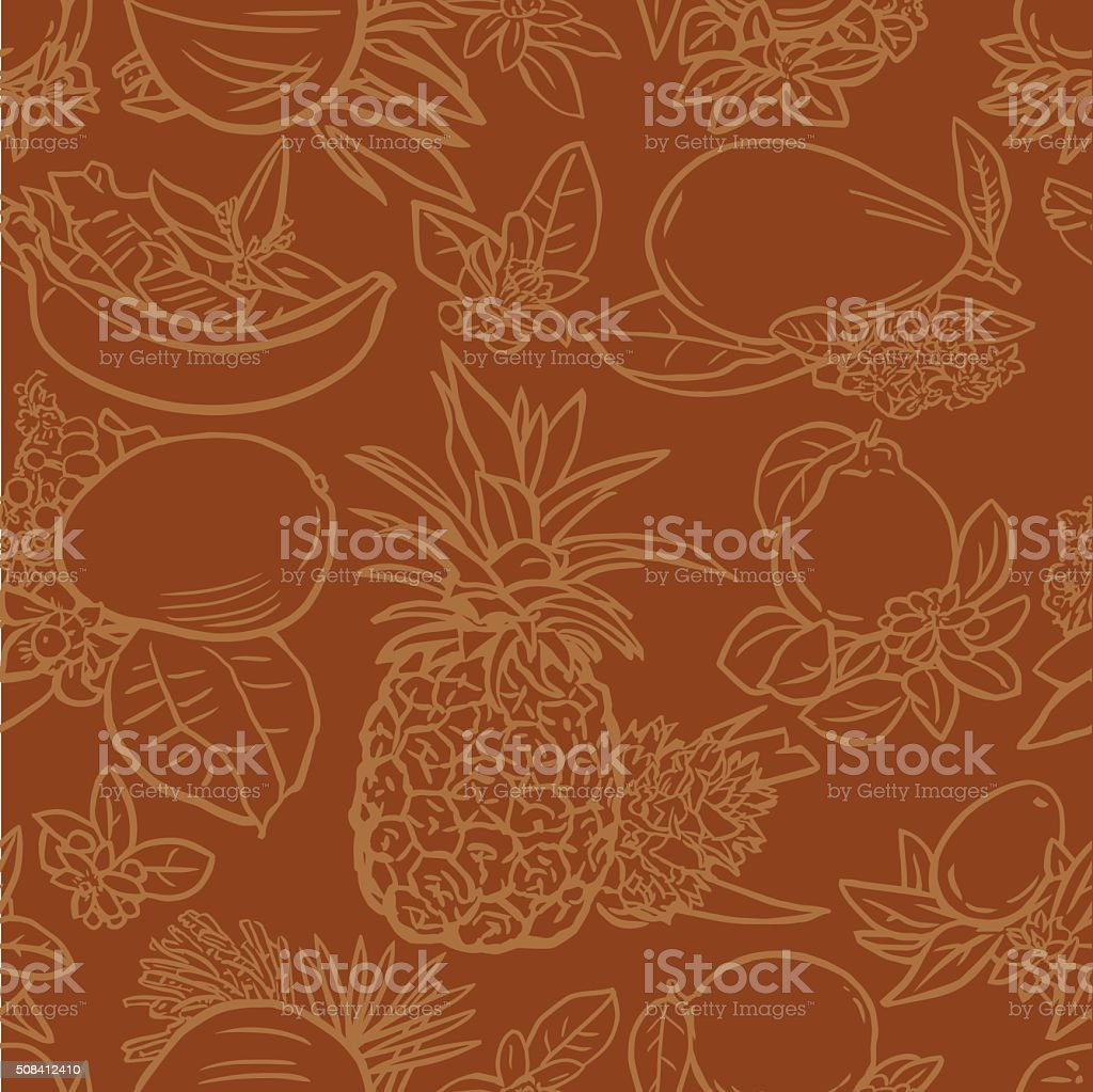 Various tropical fruits vector art illustration