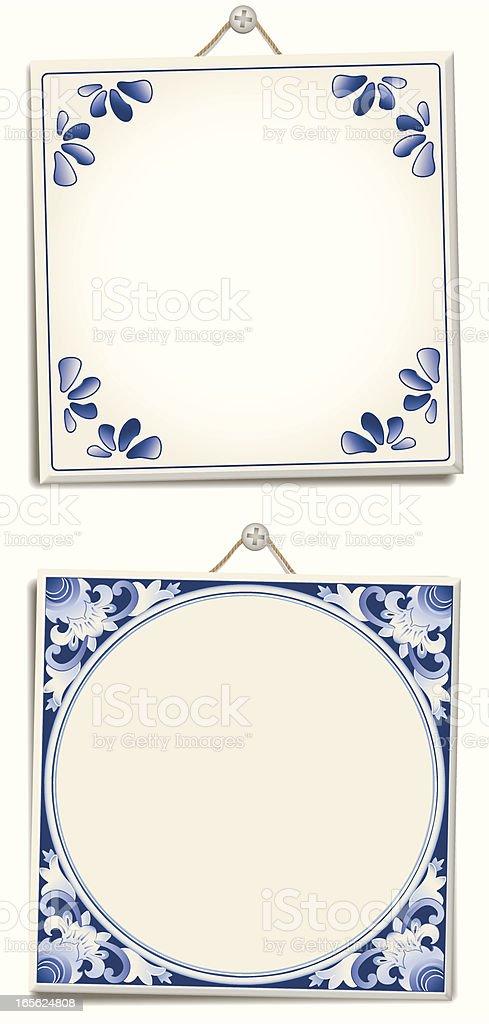 Various types of antique Dutch delft blue text files vector art illustration