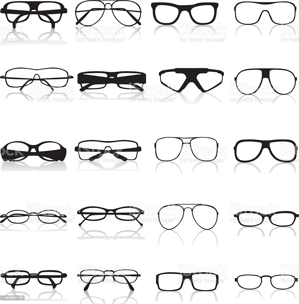Various types of black optical frames royalty-free stock vector art