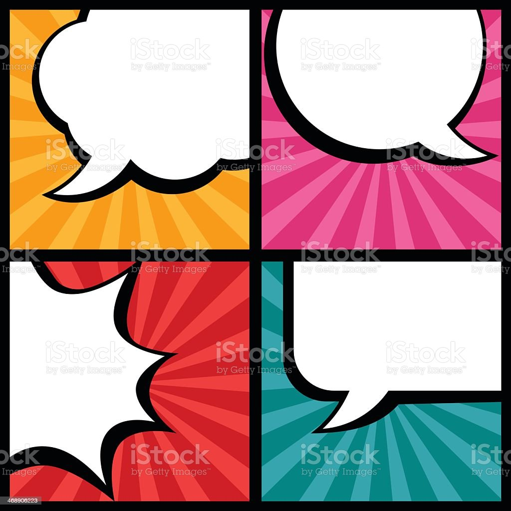 Various types of blank speech bubbles in pop art style royalty-free stock vector art