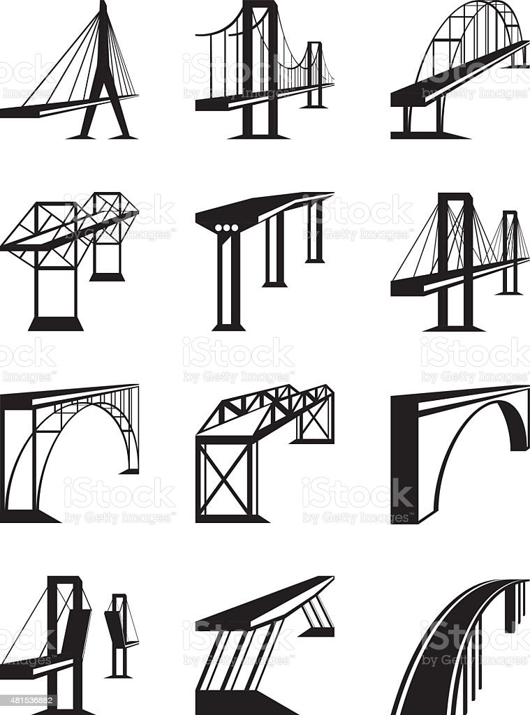 Various types of bridges in perspective vector art illustration