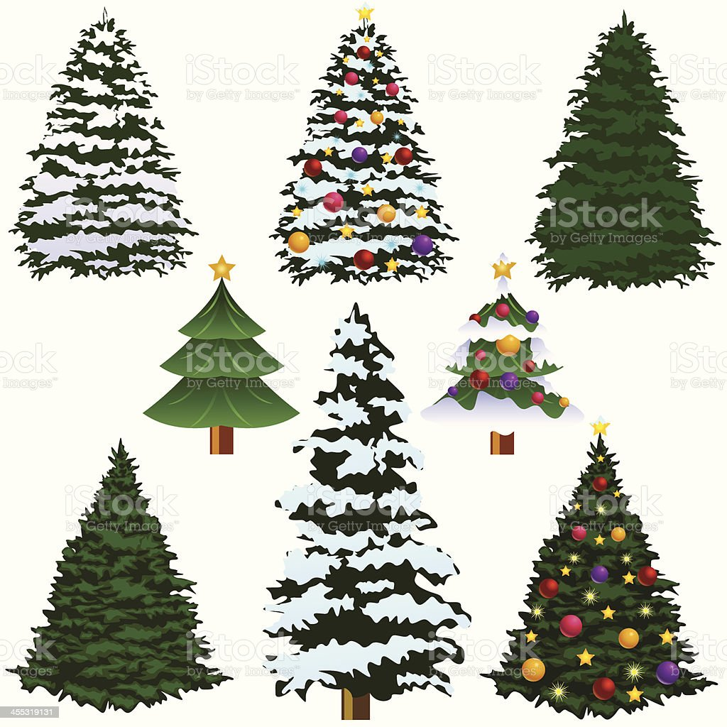 Various types of Christmas trees isolated on white vector art illustration