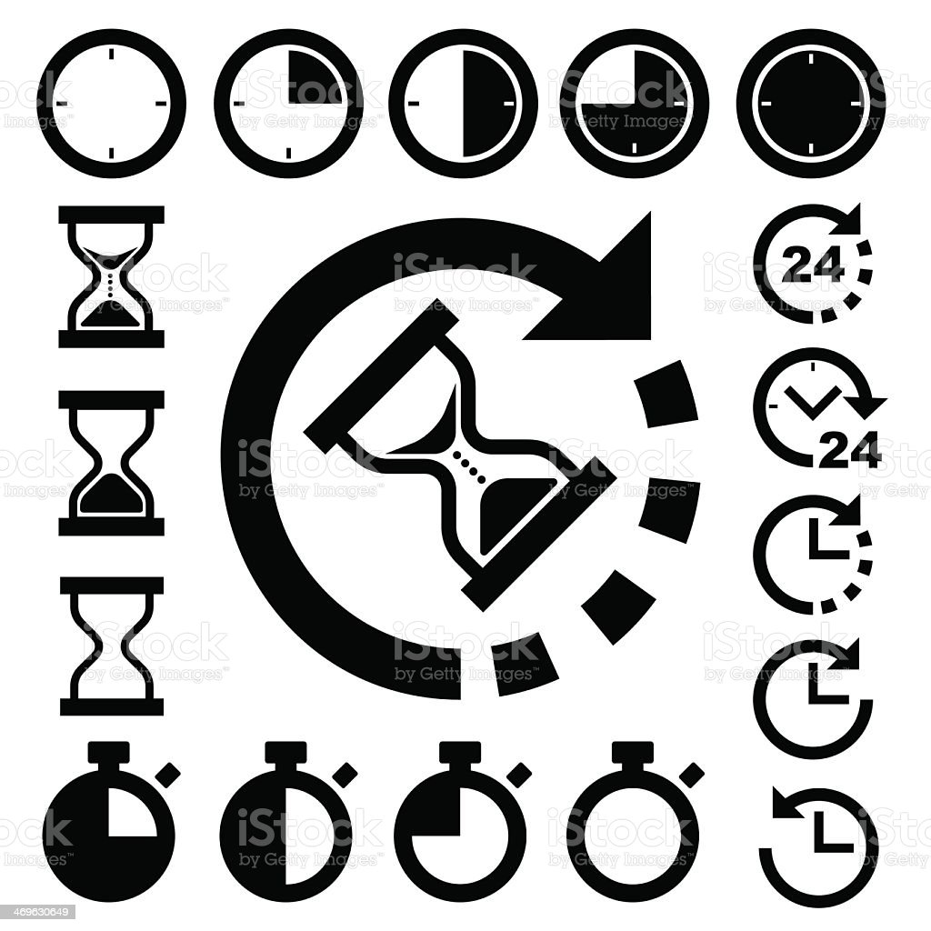 Various types of clocks and time icon set vector art illustration
