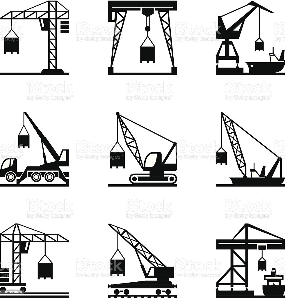 Various types of cranes vector art illustration