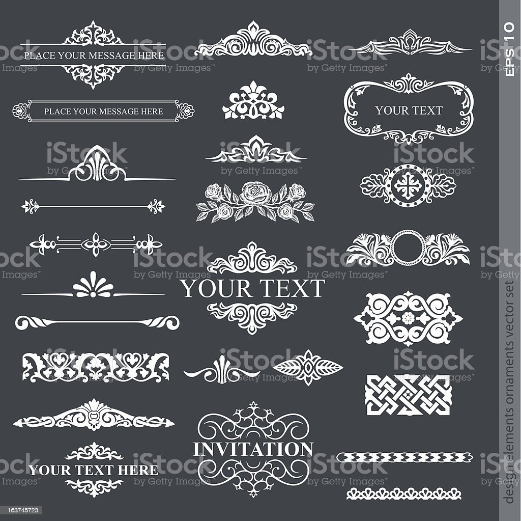 Various types of design elements vector art illustration