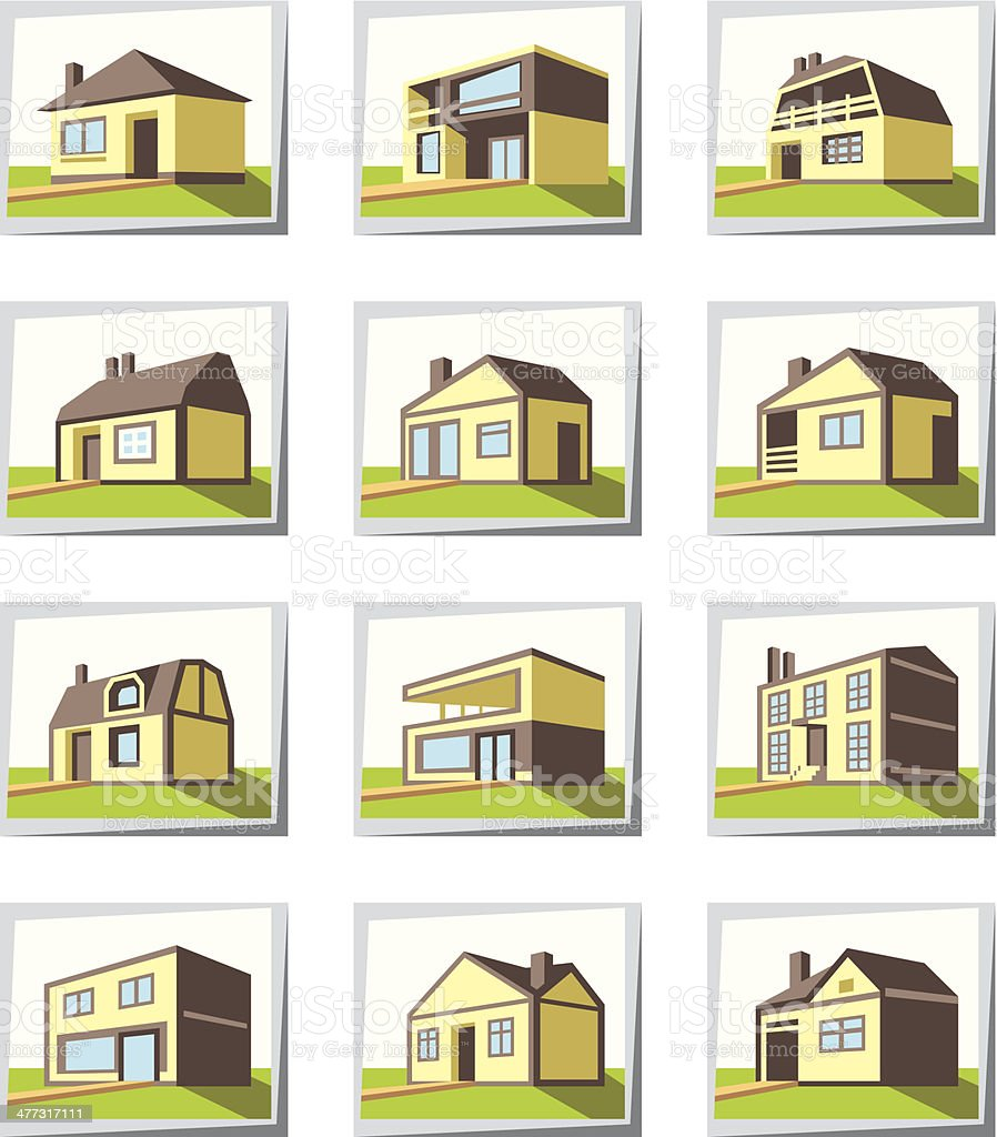 Various types of houses royalty-free stock vector art