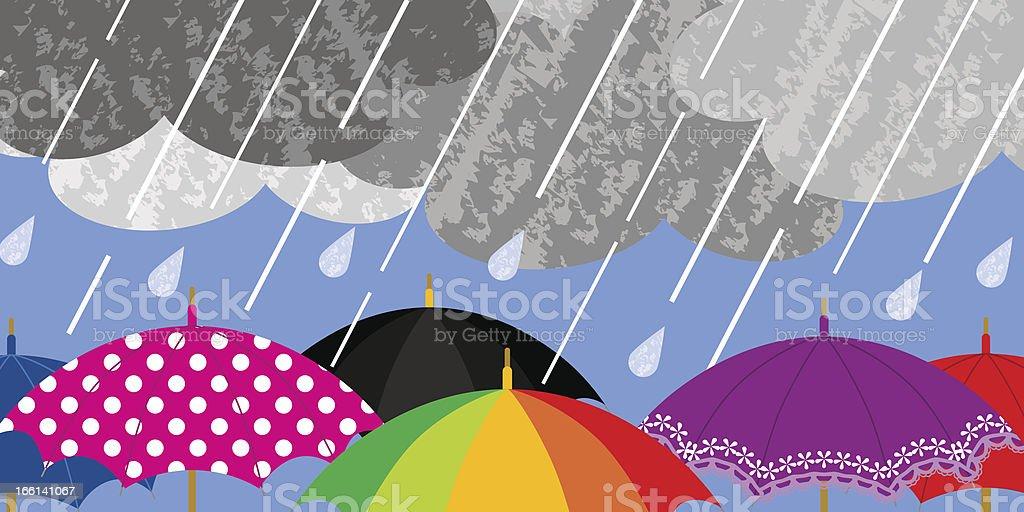 Various Umbrellas in Rainy weather royalty-free stock vector art