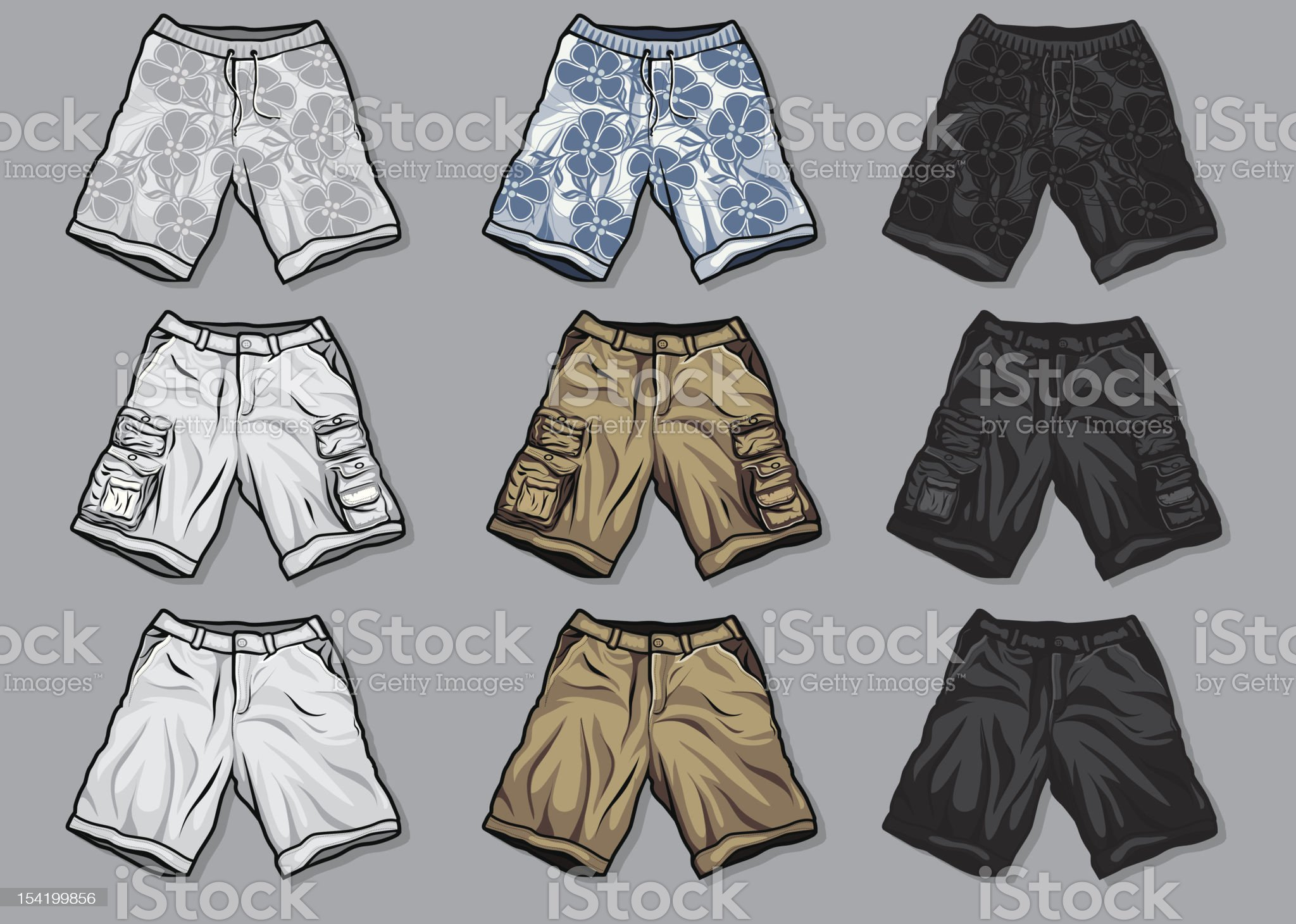 Various Vector clothing: men's shorts royalty-free stock vector art