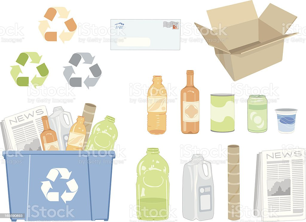 Various vector illustrations of recycling vector art illustration