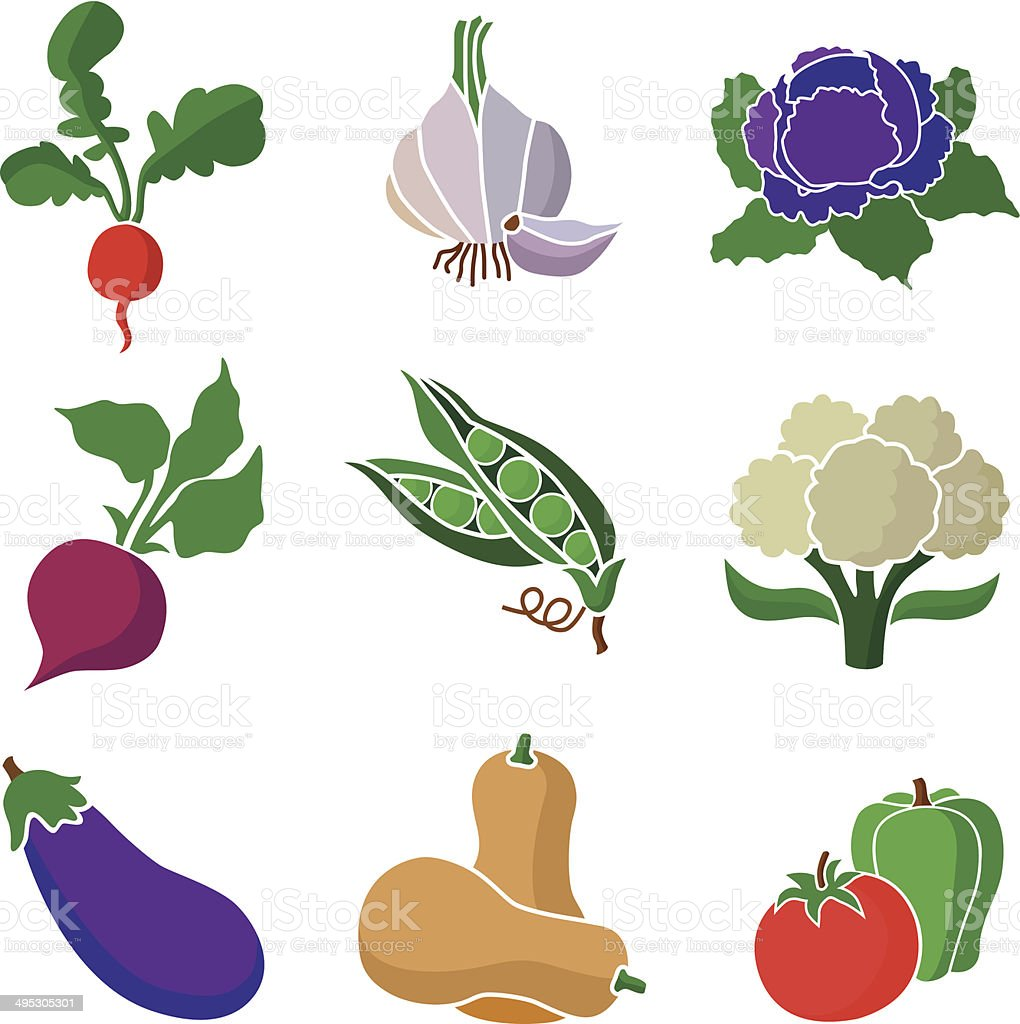 various vegetables vector art illustration