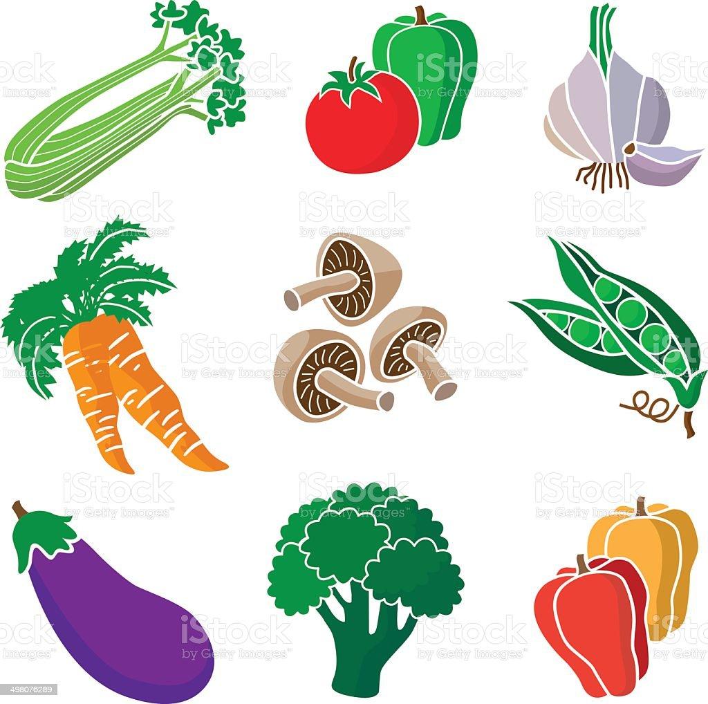 various vegetables vector art illustration
