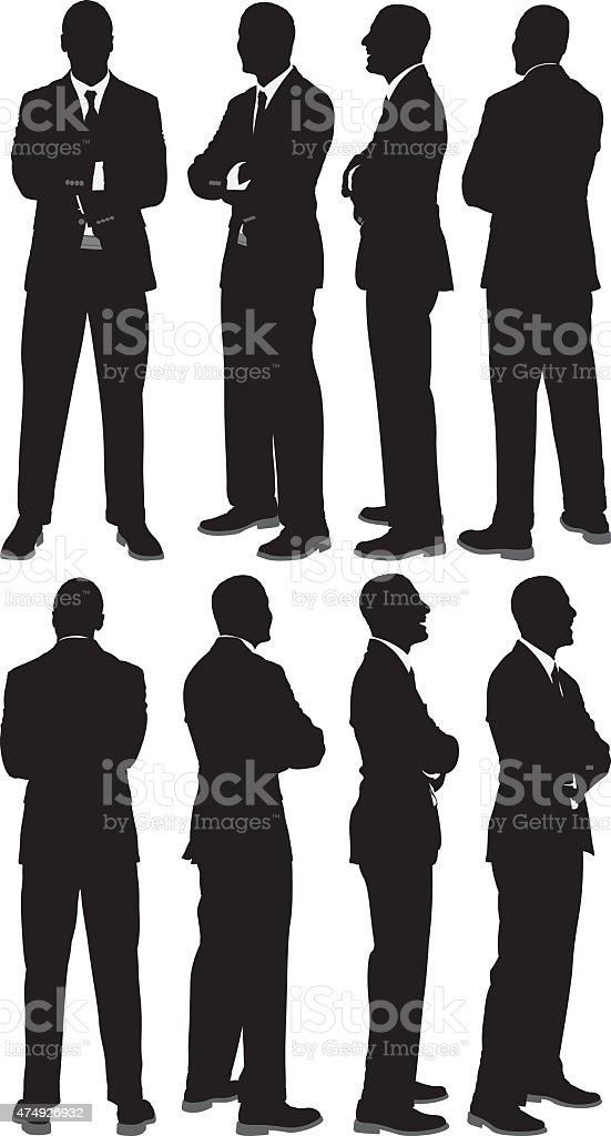 Various views businessman vector art illustration