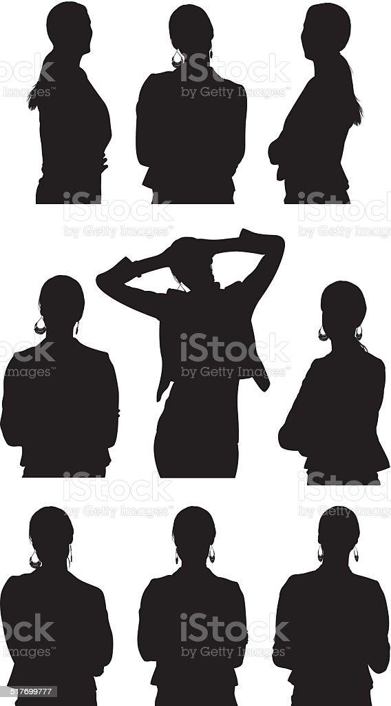 Various views businesswoman vector art illustration