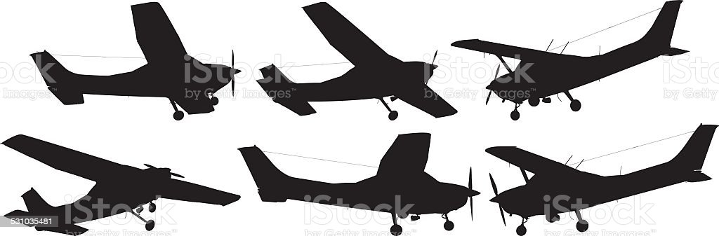 Various views of air plane vector art illustration