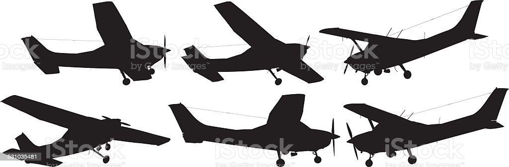 Various views of air plane vector art illustration