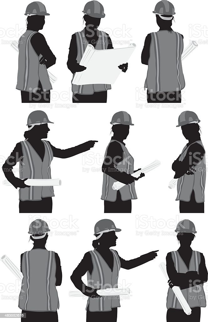 Various views of architect vector art illustration