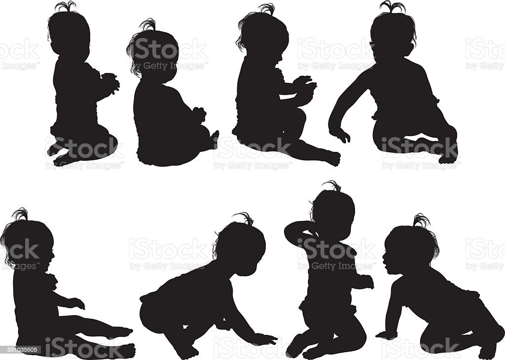 Various views of baby girl vector art illustration