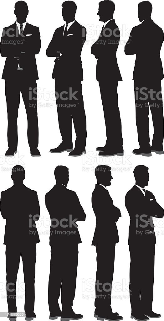 Various views of businessman vector art illustration
