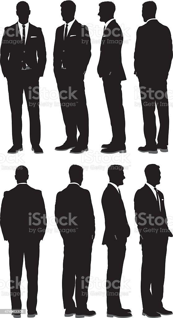 Various views of businessman vector art illustration