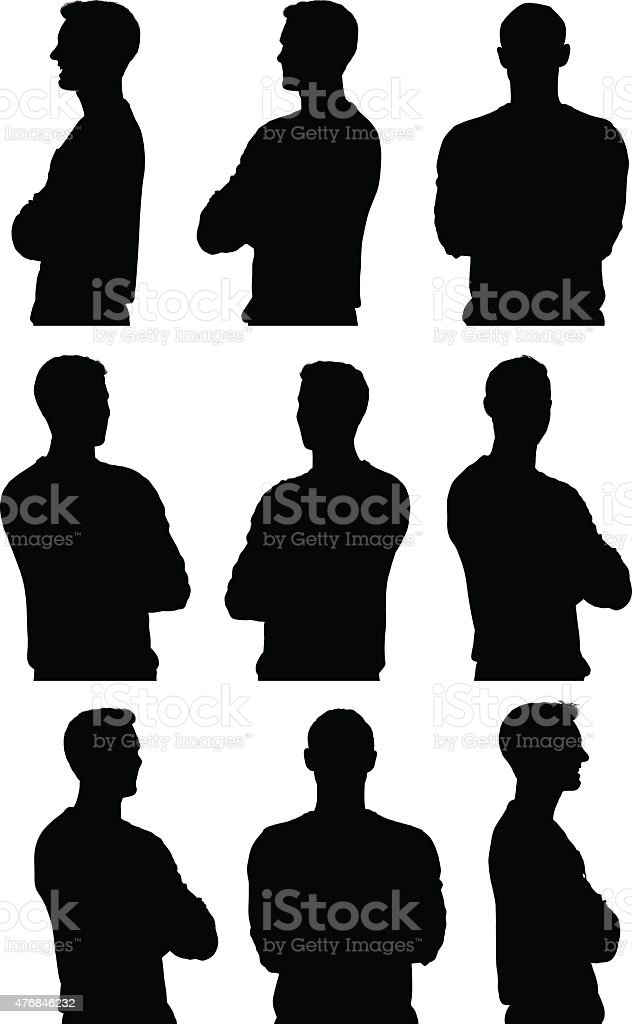 Various views of casual man vector art illustration