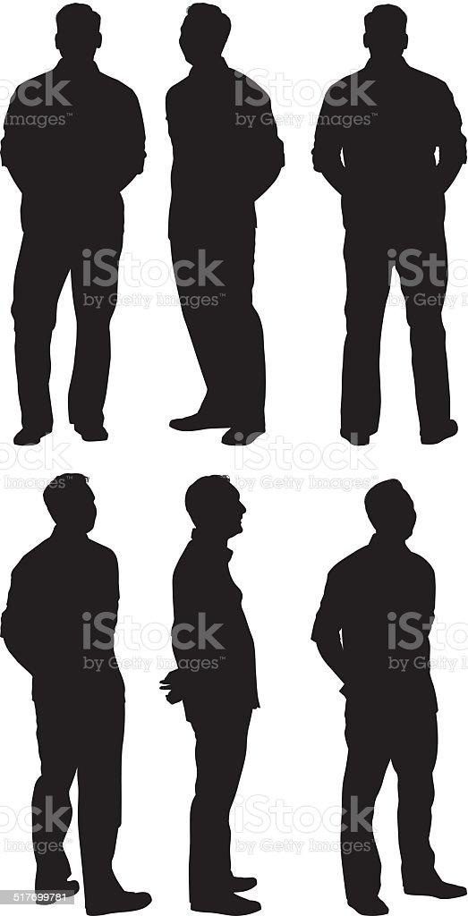 Various views of casual man vector art illustration