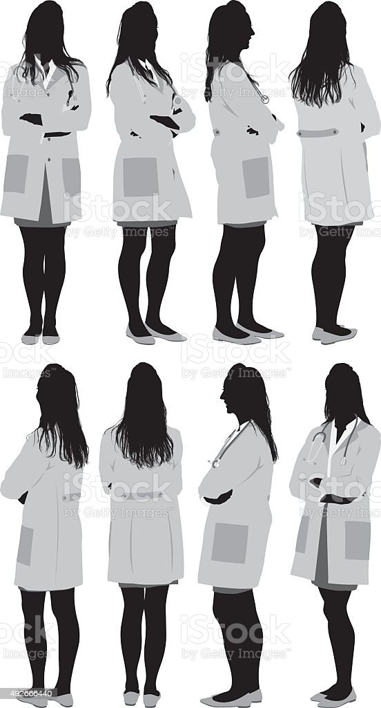 Various views of female doctors vector art illustration