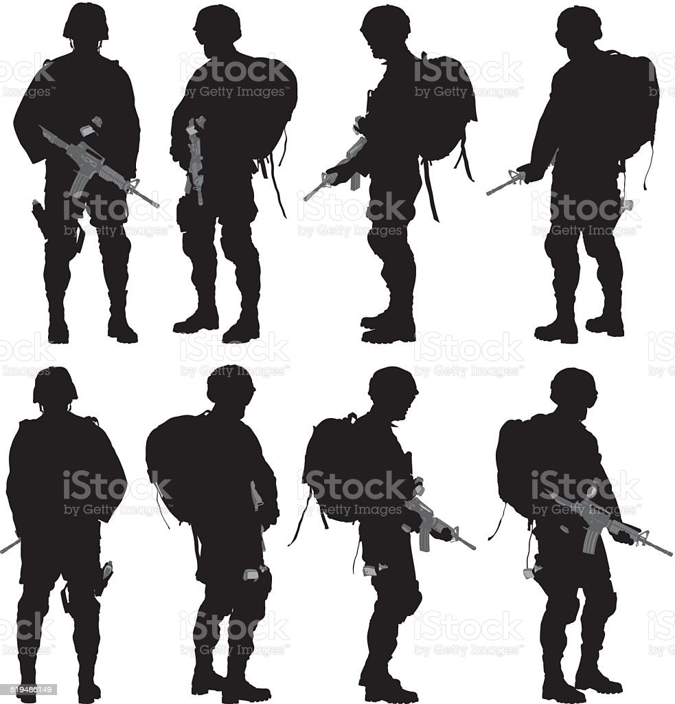 Various views of soldier vector art illustration