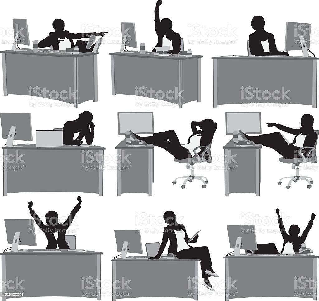 Various views of woman sitting on desk vector art illustration