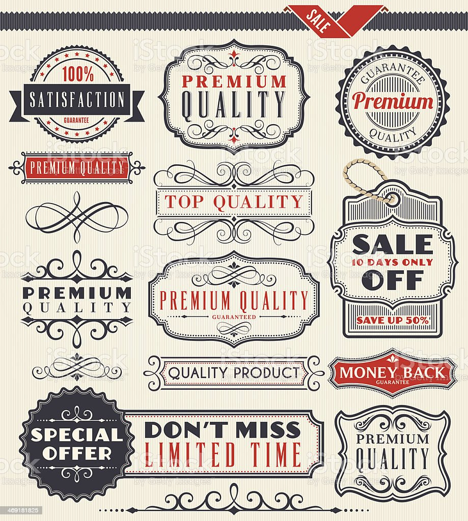 Various vintage sale badges and ribbons vector art illustration