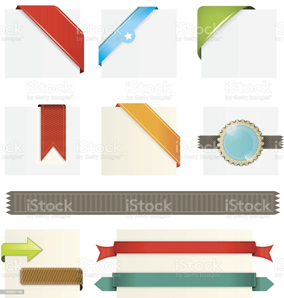Various web elements including ribbons and banners vector art illustration