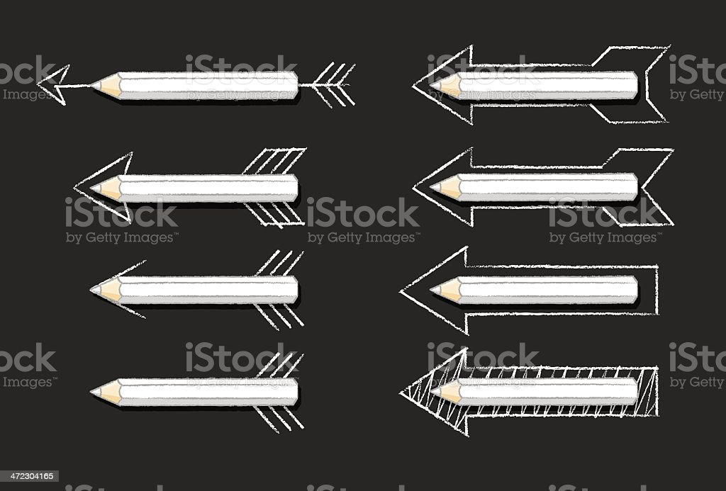 Various White Pencil Arrows on Black Background royalty-free stock vector art