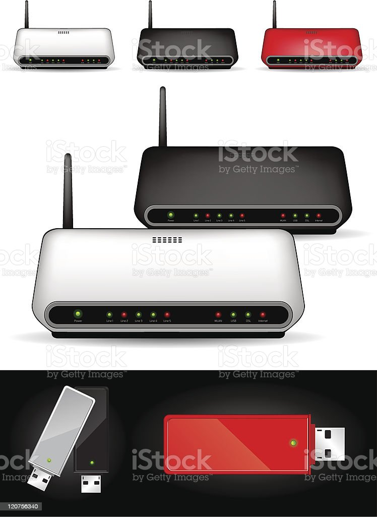 Various wireless modems - vector illustration royalty-free stock vector art