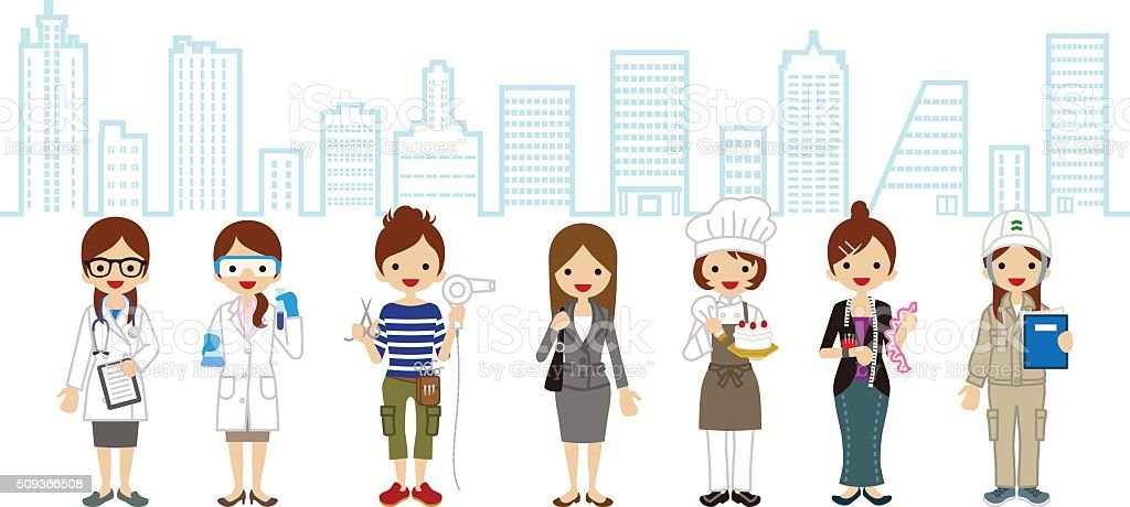 Various Women occupation - Cityscape Background vector art illustration