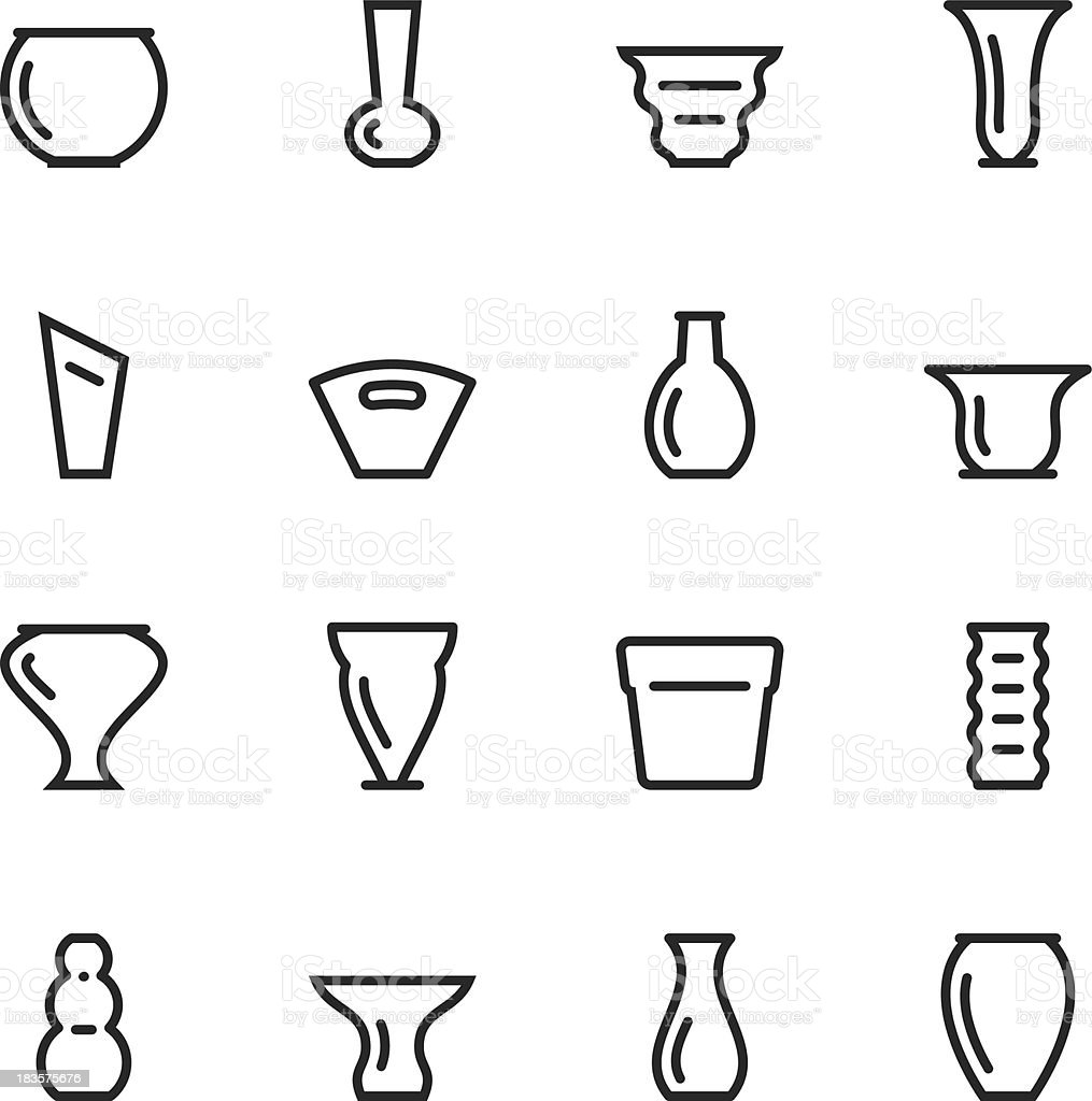 Vase and Pot Silhouette Icons | Set 1 royalty-free stock vector art