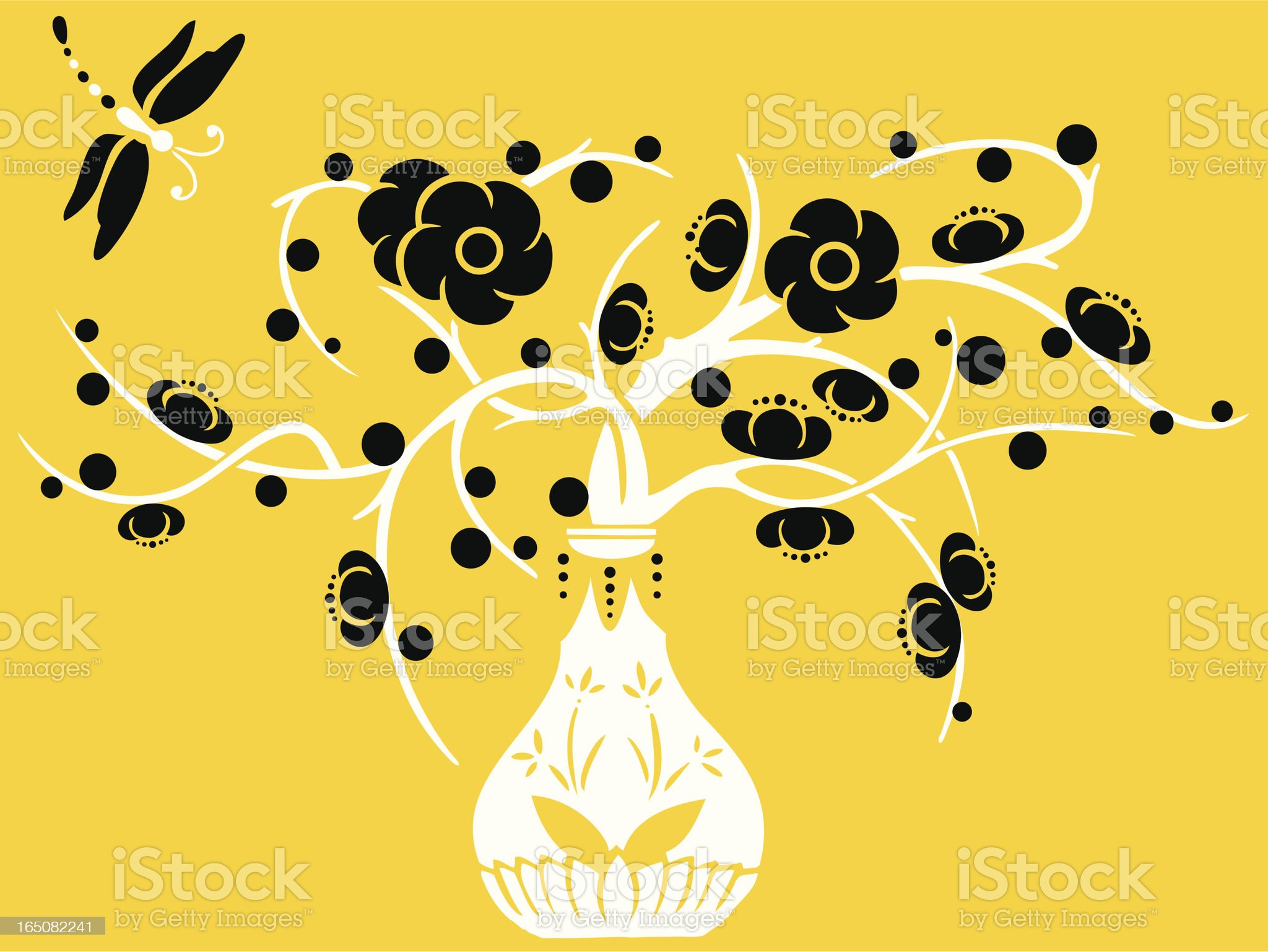 Vase & Dragonfly royalty-free stock vector art